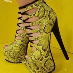 Shoespie Sexy Lace-Up Round Toe Cross Strap Platform Stiletto Heels
