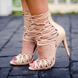 Shoespie Light Apricot Heel Covering Lace-Up Stiletto Heel Sandals