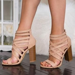 Shoespie Nude Trendy Heel Covering Open Toe Zipper Hollow Sandals