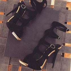 Shoespie Black Buckle Open Toe Slingback Strap Dress Sandals