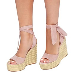 Shoespie Vintage Peep Toe Lace-Up Wedge Heel Plain Sandals