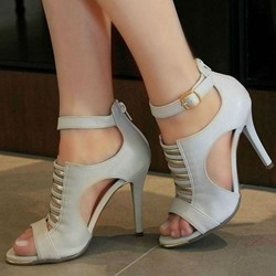 Shoespie Grey Trendy Stiletto Heel Heel Covering Zipper Dress Sandals