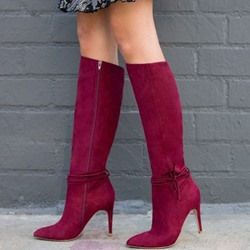 Shoespie Sexy Pointed Toe Side Zipper Plain Knee High Boots