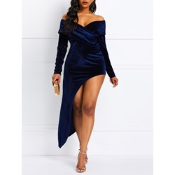 Ankle-Length Asymmetric Long Sleeve Women's Bodycon Dress