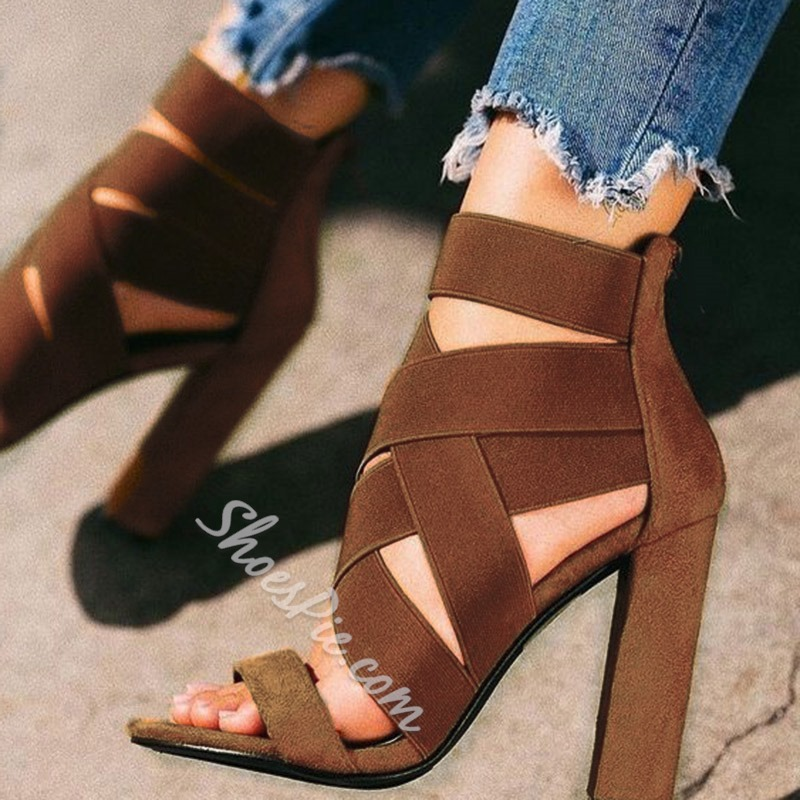Shoespie Stylish Open Toe Elastic Band Heel Sandals