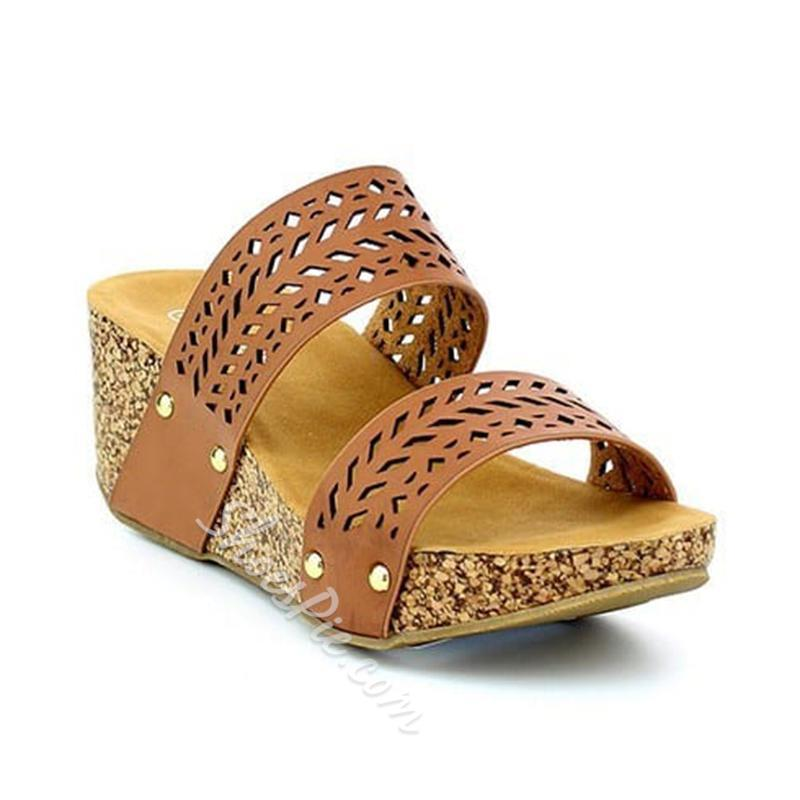 Shoespie Vintage Slip-On Wedge Heel Peep Toe Sandals