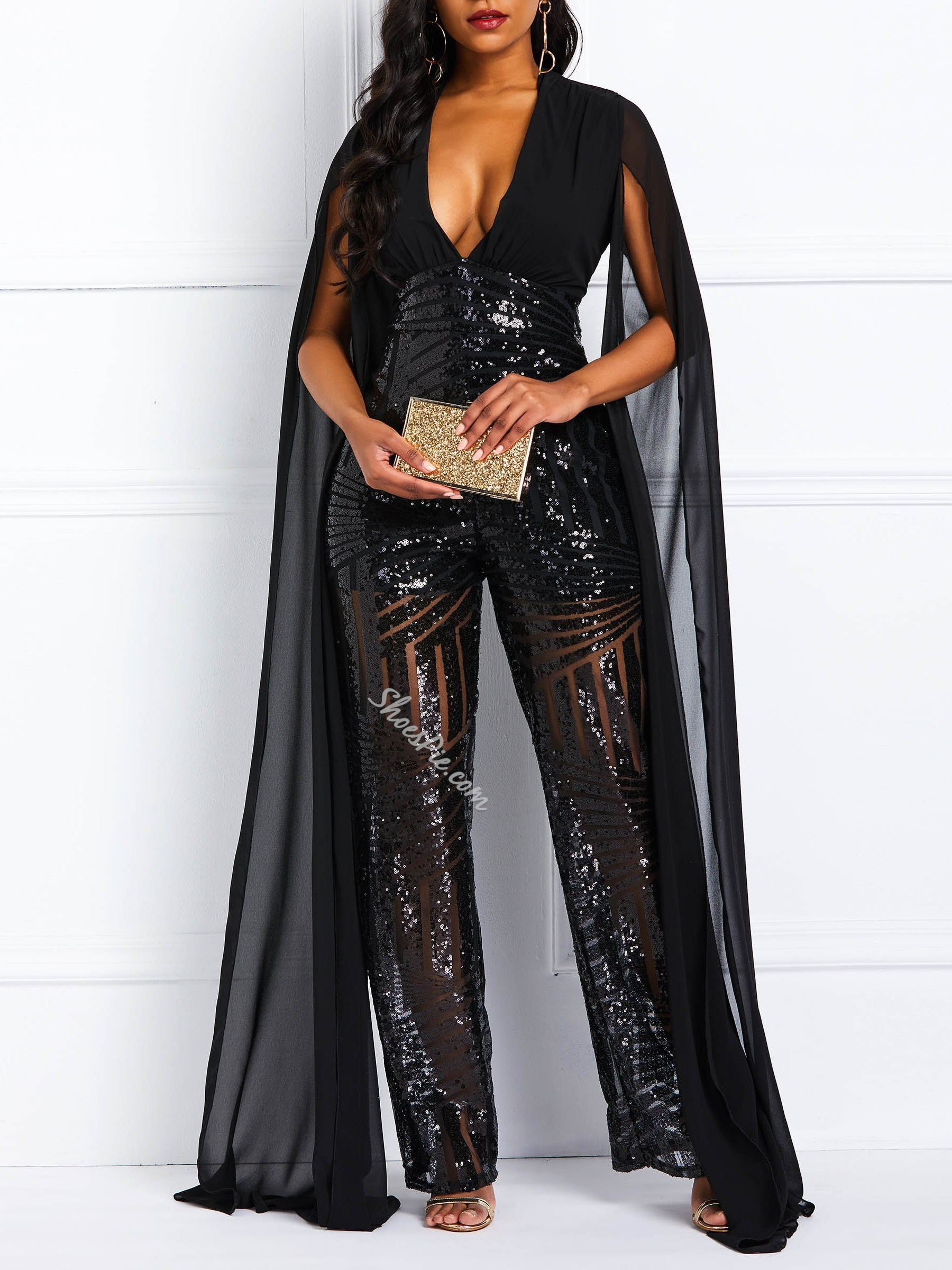 Sequins Full Length Casual Loose Women's Jumpsuit
