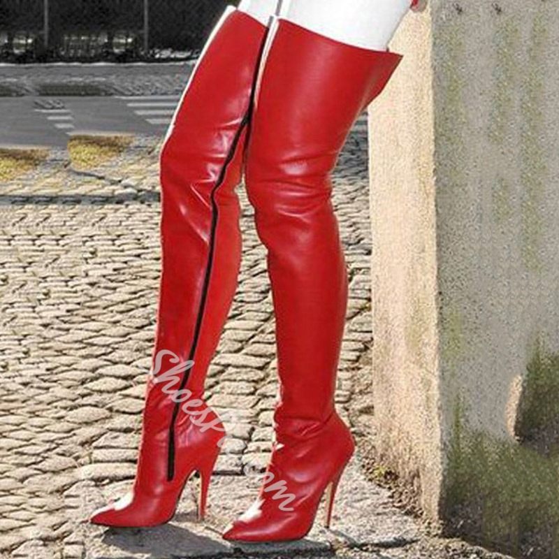 Shoespie Red Stylish Plain Pointed Toe Stiletto Heel Thigh High Boots
