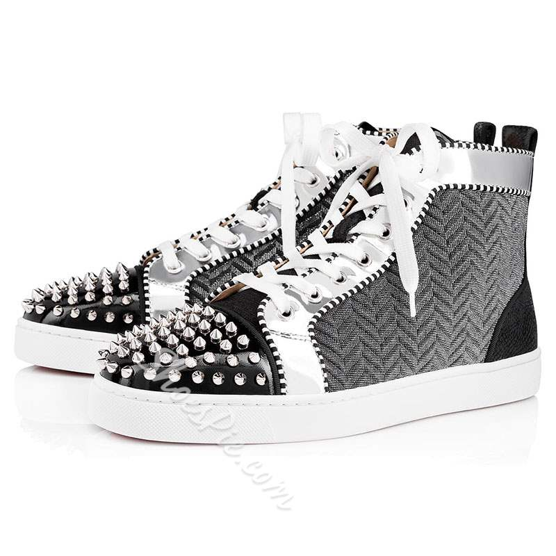 Shoespie Black High Cut Upper Lace-Up Round Toe Men's Sneakers