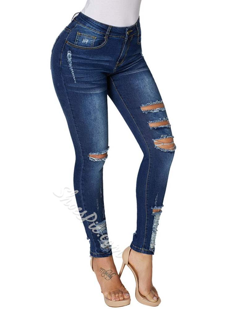 Plain Hole Pencil Pants Slim Women's Jeans