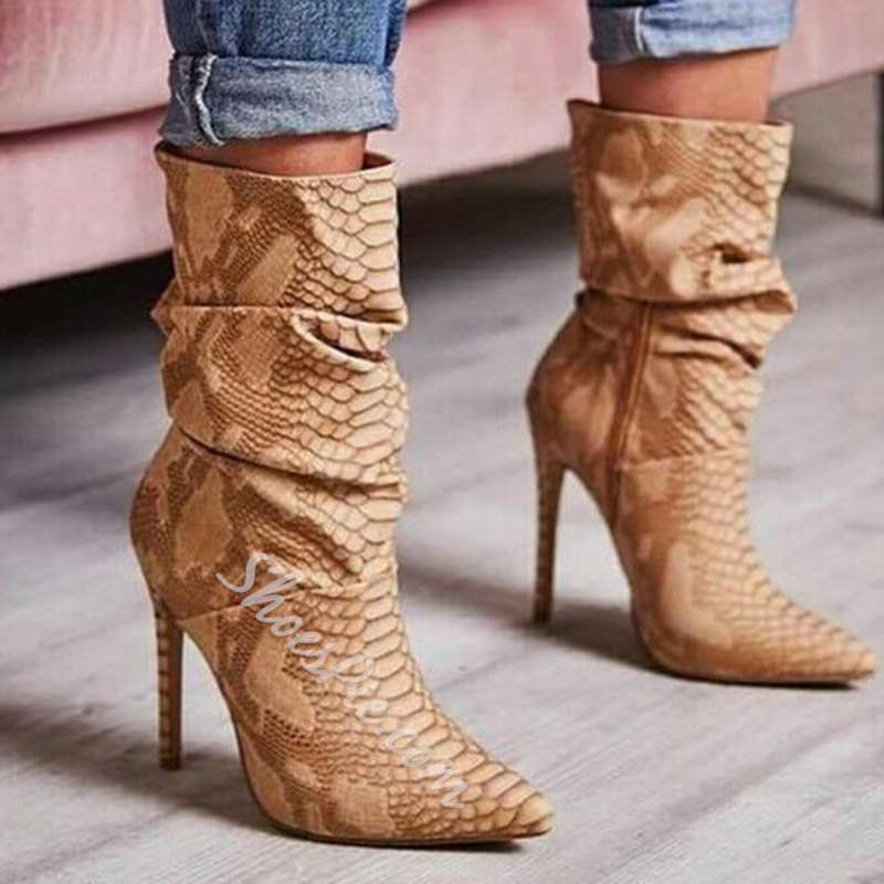 Shoespie Trendy Color Block Pointed Toe Stiletto Heel Ankle Boots