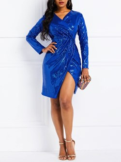 V-Neck Above Knee Long Sleeve Sequins Women's Bodycon Dress