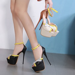 82aed8a803b Shoespie Sexy Stiletto Heel Line-Style Buckle Platform Sandals. Black Light  Apricot