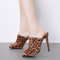 Shoespie Stylish Leopard Stiletto Heel Slip-On Flip Flop Slippers