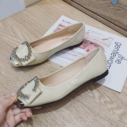 Shoespie Trendy Rhinestone Block Heel Round Toe Loafers