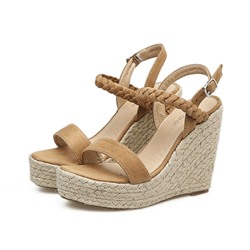Shoespie Trendy Ankle Strap Wedge Heel Buckle Platform Sandals