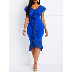 Mid-Calf Falbala Cap Sleeve Elegant Women's Dress