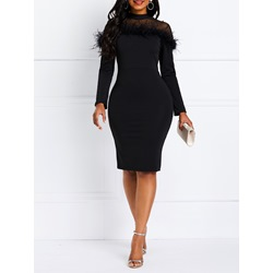 Feather Long Sleeve Spring Women's Bodycon Dress