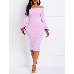 Long Sleeve Spring Fall Plain Women's Bodycon Dress