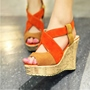 Shoespie Sexy Peep Toe Slip-On Wedge Heel Color Block Sandals