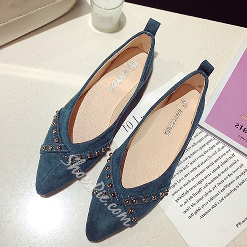 Shoespie Pointed Toe Rivet Flats