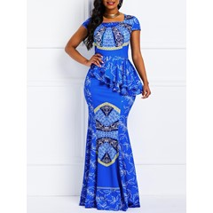 Floor-Length Falbala Square Neck Geometric Women's Maxi Dress