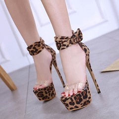 Shoespie Sexy Leopard Heel Stiletto Heel Covering Platform Sandals