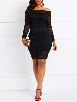 Hollow Lace Off-The-Shoulder Women's Bodycon Dress