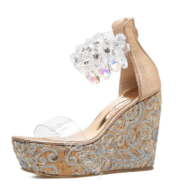 Shoespie Rhinestone Zipper Jelly Wedge Heel Sandals