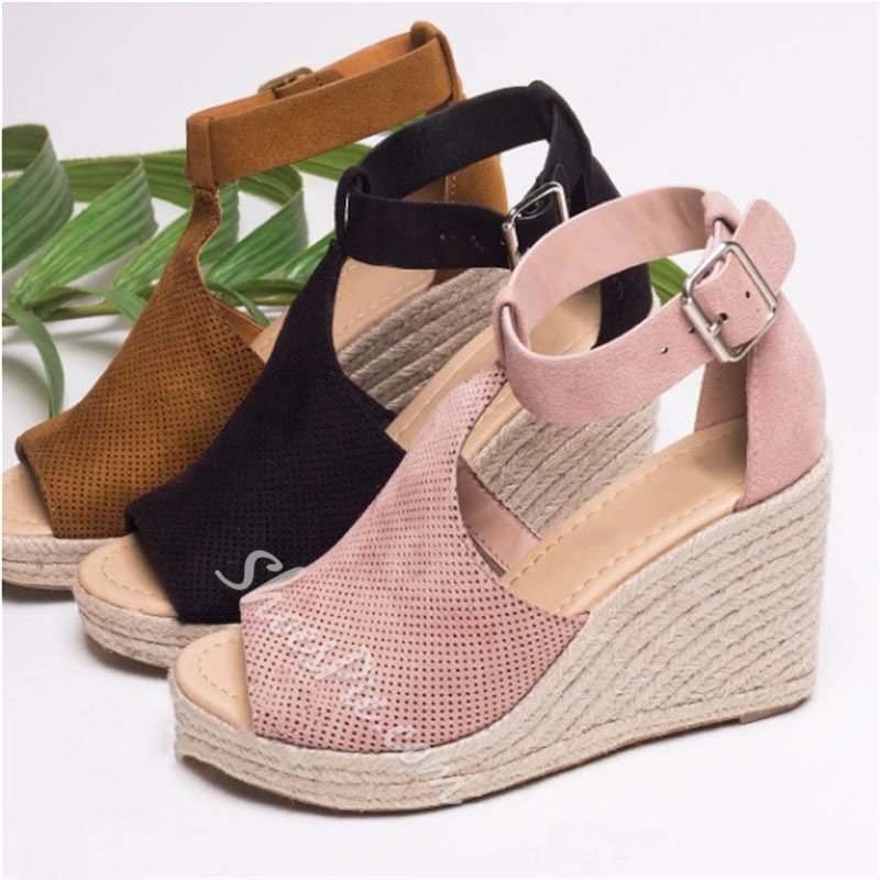 Shoespie Wedge Heel Buckle Large Size Sandals