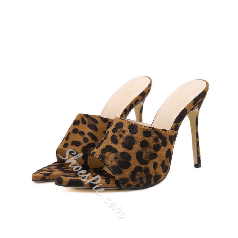 Shoespie Stylish Leopard Stiletto Heel Flip Flop Slip-On Slippers