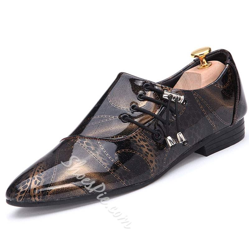 Shoespie Print Pointed Toe Men's Flat Shoes
