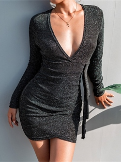 Lurex Long Sleeve V Neck Standard-Waist Women's Bodycon Dress