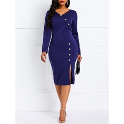 V-Neck Button Knee-Length Elegant Women's Bodycon Dress