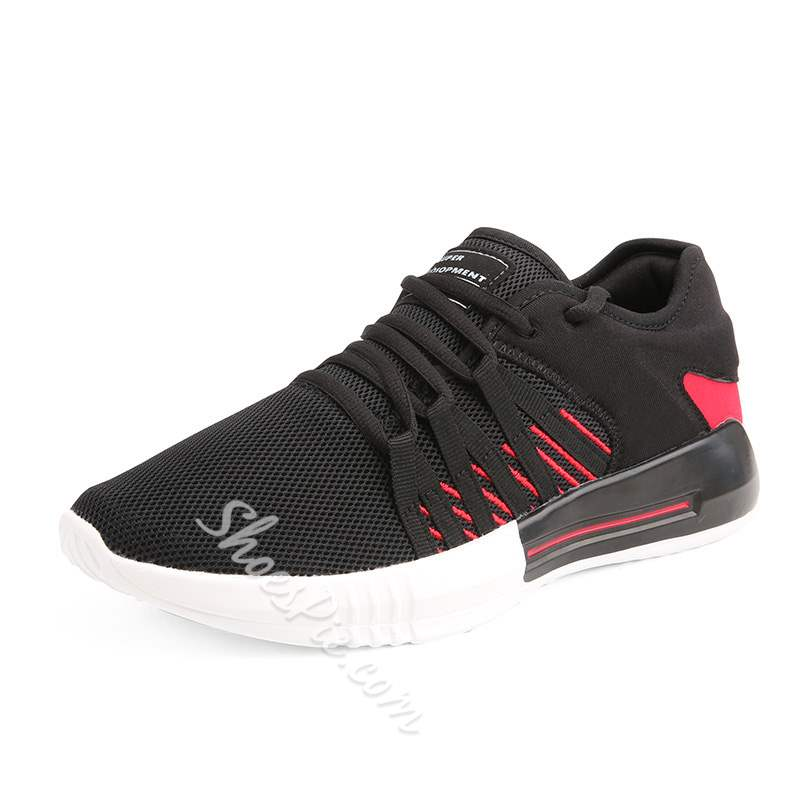 Shoespie Mesh Lace Up Low-Cut Upper Men's Sneakers