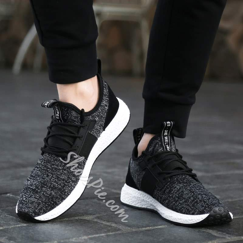Shoespie Lace-Up Flat With Low-Cut Upper Woven Men's Sneakers