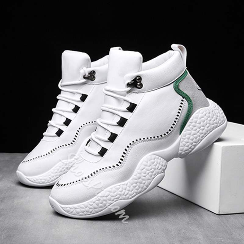 Shoespie High Cut Upper Lace Up Round Toe Men's Sneakers