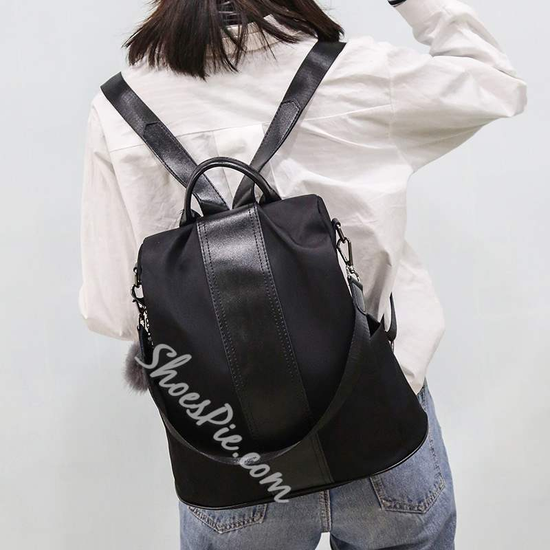 Shoespie Color Block Zipper Women Backpack