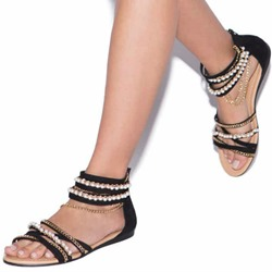 Shoespie Trendy Zipper Open Toe Flat With Plain Bead Chain Sandals