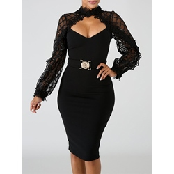 Long Sleeve Mesh V Neck Patchwork Women's Bodycon Dress