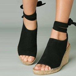 Shoespie Sexy Open Toe Lace-Up Strappy Low-Cut Upper Wedge Sandals