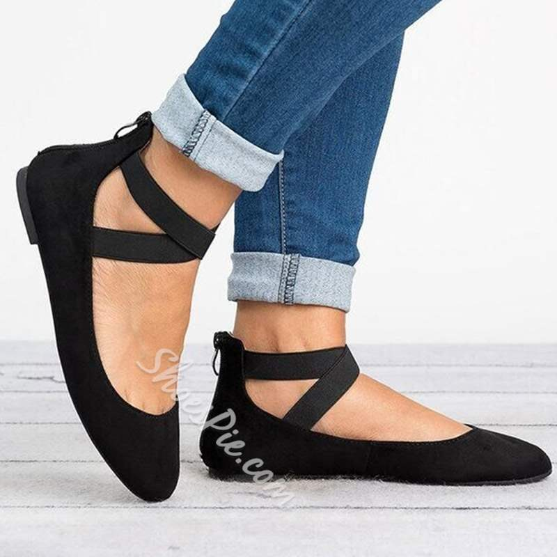 Shoespie Sexy Block Heel Round Toe Zipper Flat Loafers