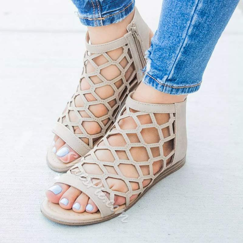 Shoespie Stylish Flat With Open Toe Zipper Strappy Sandals
