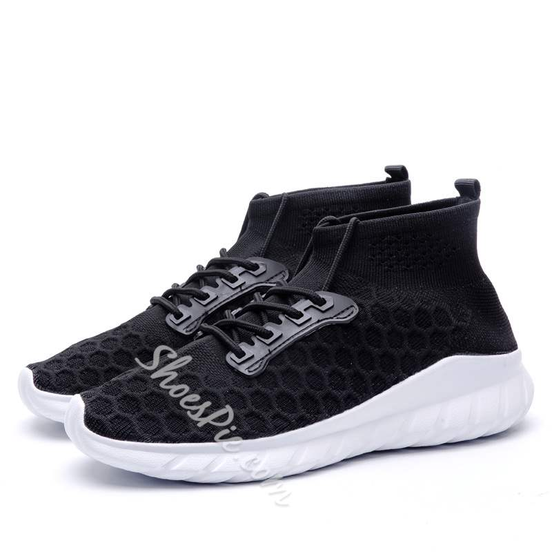 Shoespie Mesh High-Cut Upper Lace-Up Round Toe Men's Sneakers