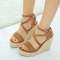 Shoespie Stylish Open Toe Line-Style Buckle Heel Covering Low-Cut Wedge Sandals