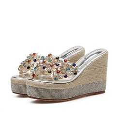 Shoespie Trendy See-Through Wedge Heel Flip Flop Slippers