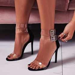 Shoespie Stylish Line-Style Buckle Stiletto Heel Jelly Sandals