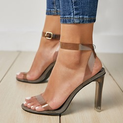 Shoespie Trendy Open Toe Line-Style Buckle Chunky Jelly Sandals