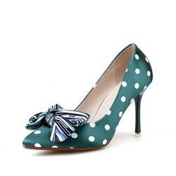 Shoespie Bowknot Dot Pointed Toe High Heel Pumps