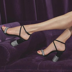 Shoespie Stylish Open Toe Chunky Heel Strappy Low-Cut Sandals
